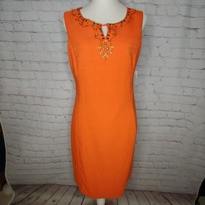 Roz & Ali Orange Bead Shift Dress 12 NWT